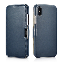 For iPhone X Original icarer case Luxury Genuine Leather Shockproof Case for Apple iPhone X 10 Full Edge Closed Flip Cover