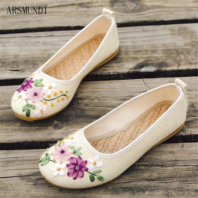 ARSMUNDI Vintage Embroidered Women Flats Flower Slip On Cotton Fabric Linen Comfortable Old Peking Ballerina Flat Shoes M226 slip-on shoe