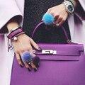 Серебряное кольцо Lavida F23 с изменяемым размером для женщин и девушек, подарок/модные ювелирные украшения, подвески, кольцо с помпоном из нату...