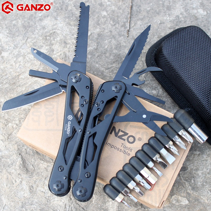 Ganzo Multitools G202B Multi Knife Plier Folding EDC Tools Camping Multifunctional Folding Plier Screwdriver Bits Mini Scissors ganzo g729 gr axis lock folding knife pocket clip