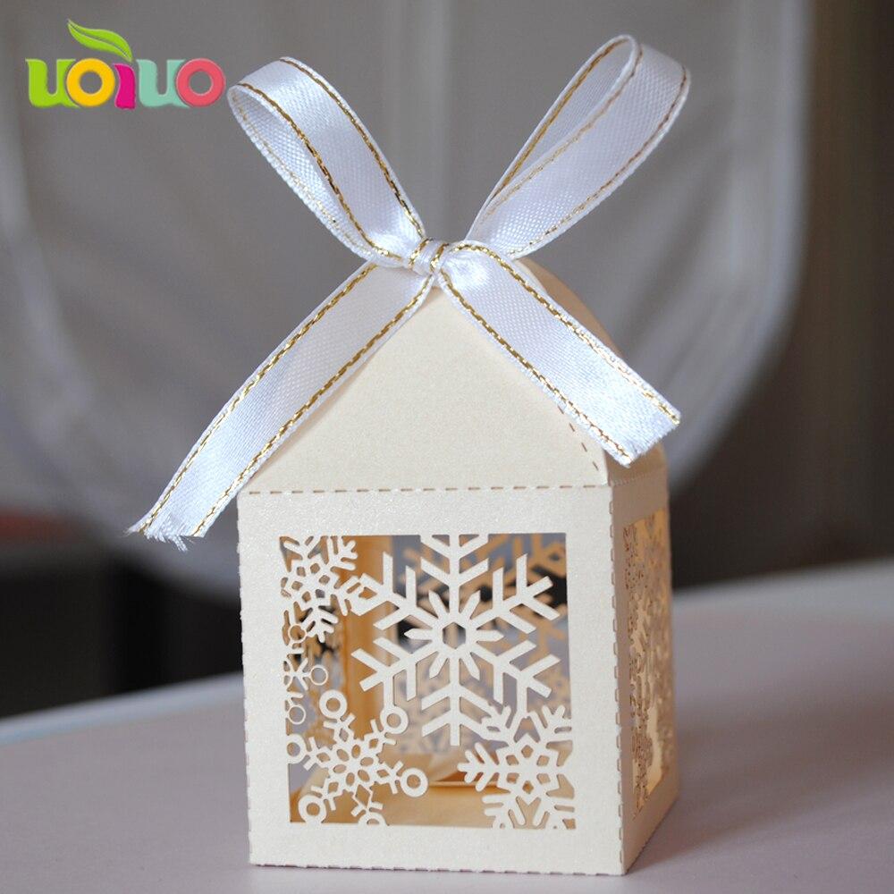 50pcs/set Romantic Wedding favors snow DIY Candy Cookie Gift Boxes ...