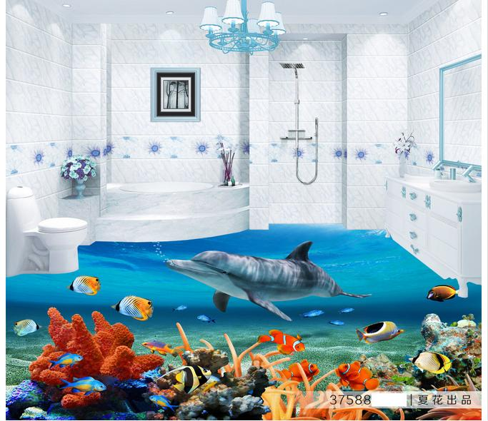 ФОТО Customized 3d photo wallpaper 3d floor painting wallpaper The aquarium fish 3D stereo floor living room decoration