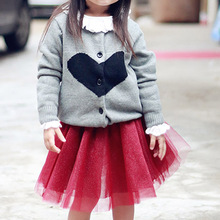 BBK Spring Heart-shaped grey Children cardigan Long-sleeved sweater coat youngsters Girls Sweater with Hooded Wool Cotton Knitwear C*