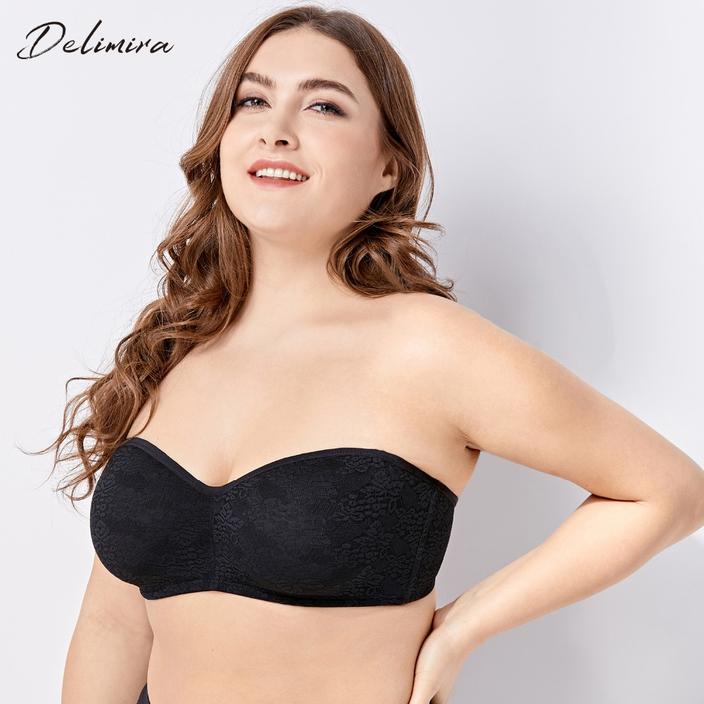 DELIMIRA Women's No Padding Underwire Smooth Floral Lace Multiway Strapless Bra Plus Size