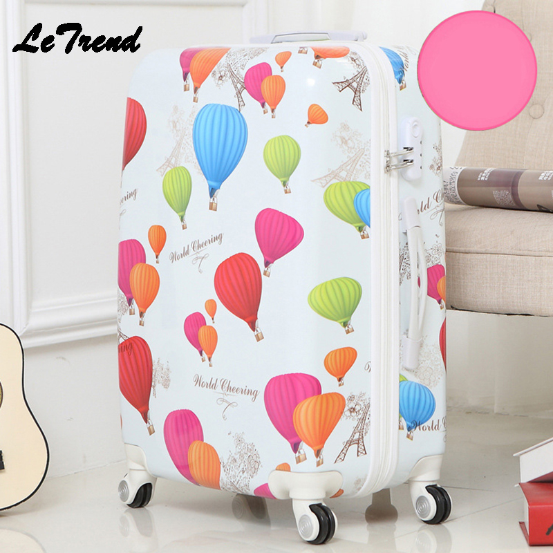 Letrend Fashion Student ABS Rolling Luggage Spinner Wheels Suitcase Trolley 20 inch Women Travel Bag Carry On Password Trunk