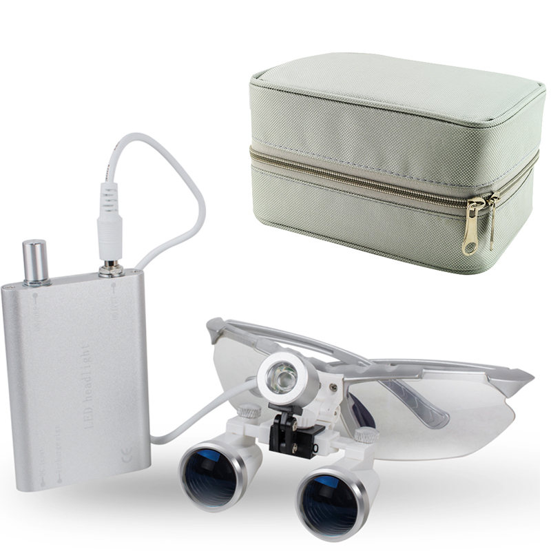Colorful Dental loupe Set with Silver Carry Case Dental Medical Binocular Loupes 3.5X 420mm Optical Glass Loupe+LED Head Light 2018 new fashion dentist dental surgical medical binocular loupes optical glass loupe with colorful carry case free shipping