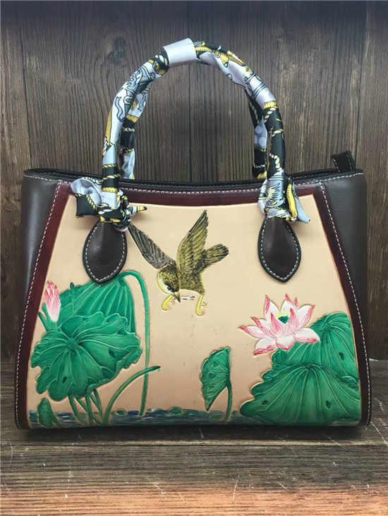 70691d5e2e85 ... НОВЫЙ Итальянский растительного дубления кожи рука вырезать лотоса  китайские винтажные женские из сафьяновой кожи сумки для ...