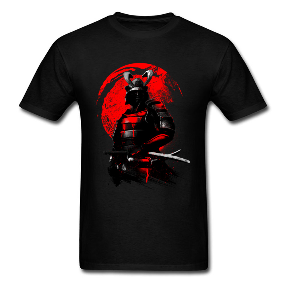 Samurai Warrior Tops Cold Style Black Red   T  -  shirt   Men Hero   T     Shirts   Japan Anime Tees Cotton Clothing Swordsman Tshirt