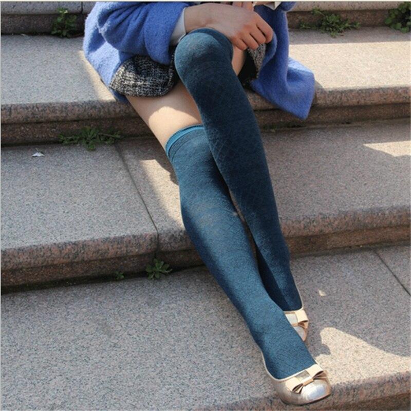 2016 Fashion Winter Warm Long Socks Women Striped Over Knee High Socks Cotton Thick Legg ...