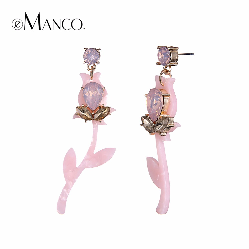 eManco trendy planter hengende dråpeøreringer for rosa akryl og - Mote smykker - Bilde 1