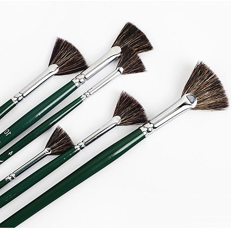 6pcs/set Fan-shaped Marten Hair Watercolor Brush Gouache Acrylic Pig Bristles Hair Adult Beginner Hand-painted Oil Paint Brush