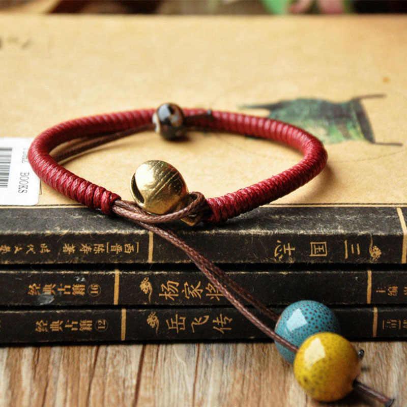 Керамические бусины Бронзовый колокольчик браслеты из бисера ряд переплетенных веревок манжеты браслеты для женщин и мужчин модные очаровательные ювелирные изделия аксессуары