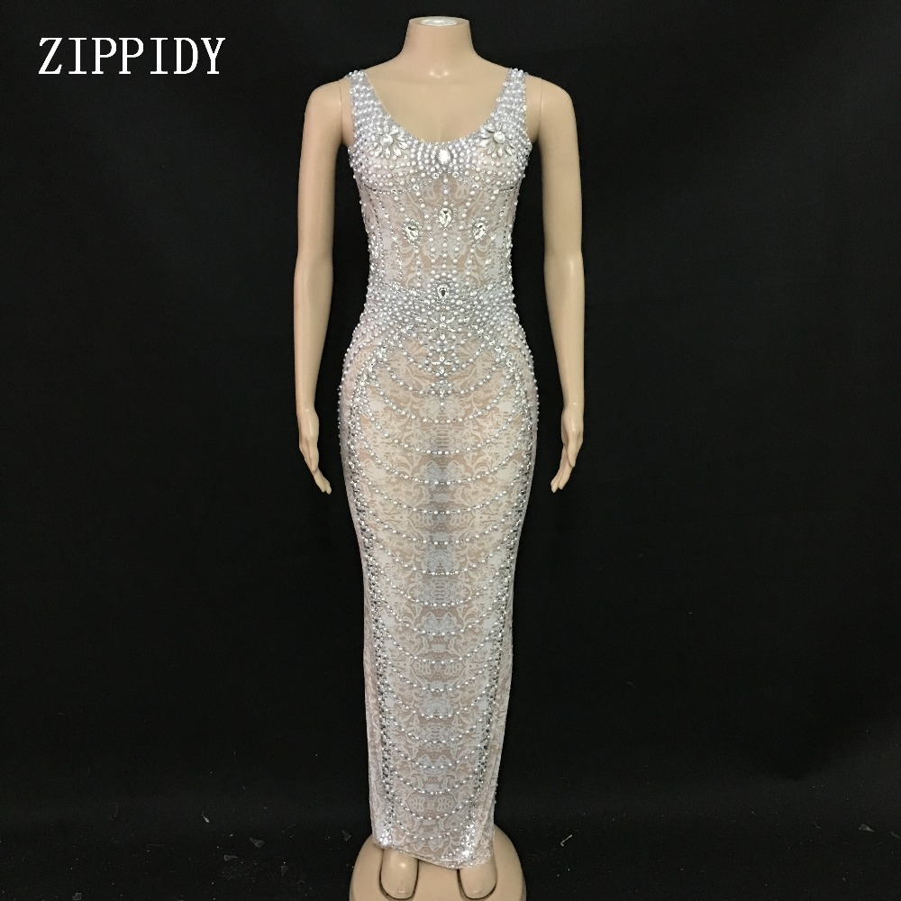 Sparkly Pearls Crystals Mesh Long Dress Women s Birthday Celebrate See Through Lace Dress Stage Costume