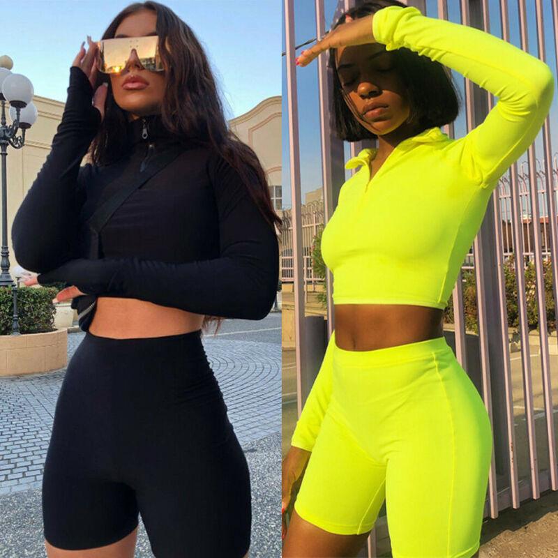Women Long Sleeves Buttons Solid Sun-proof Casual Crop Tops Short Pants Set 2pcs