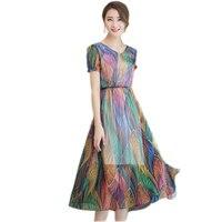 Fashion Silk Dress Long Style Summer Dress For Women 2017 Korean Short Sleeved V Neck Printed