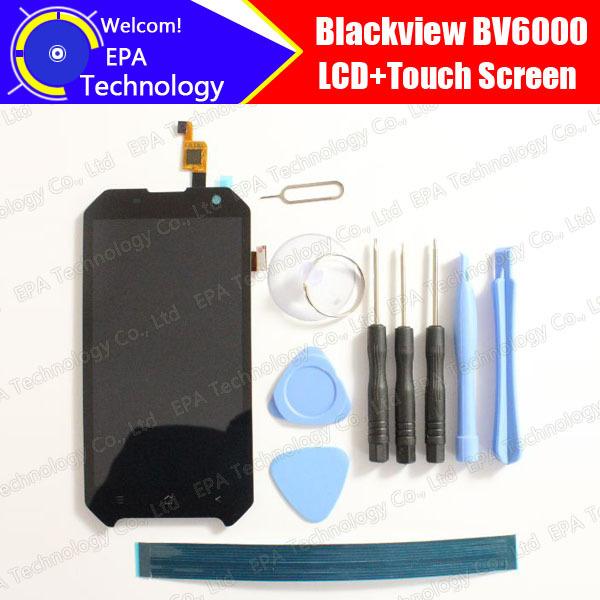 Blackview bv6000 display lcd + de tela de toque 100% original novo testado digitador substituição do painel de vidro para bv6000 + ferramentas + adesivo
