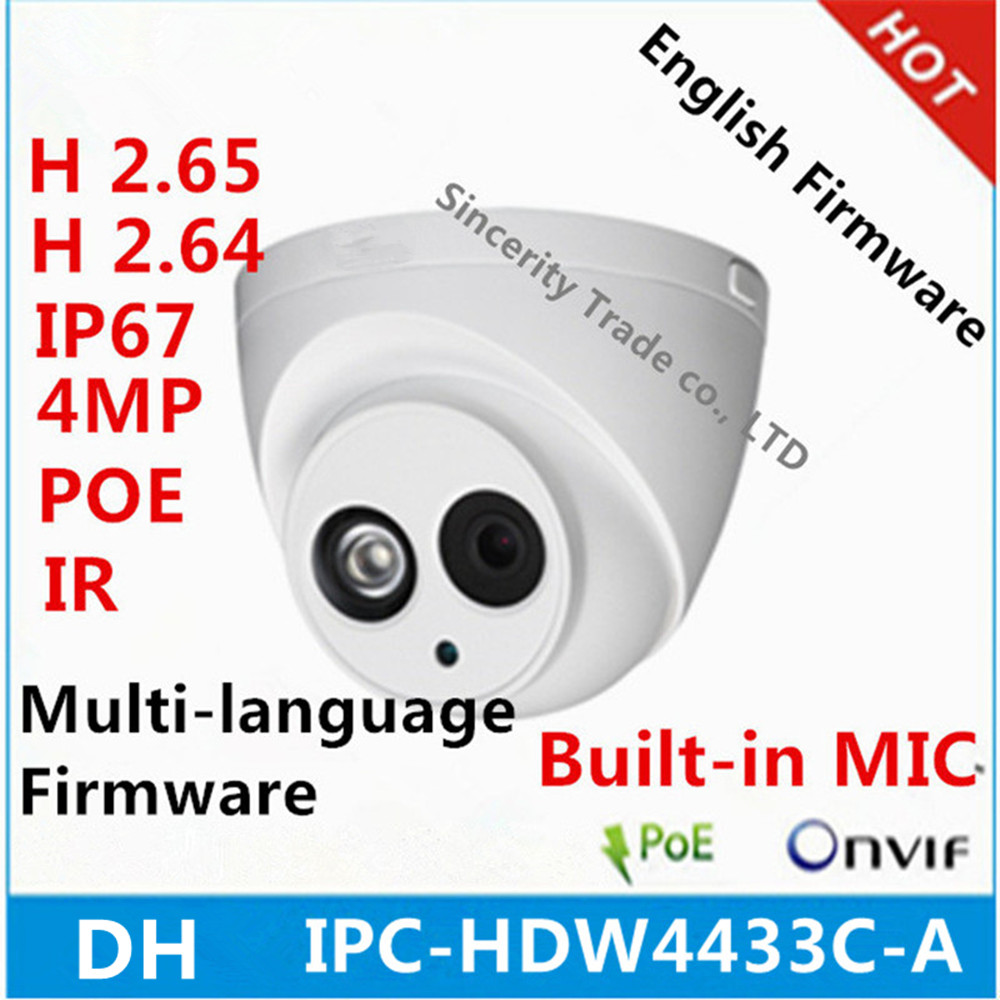 DH IPC HDW4433C A 4MP Starlight Camera Built in MIC IR 50m network IP Camera Support