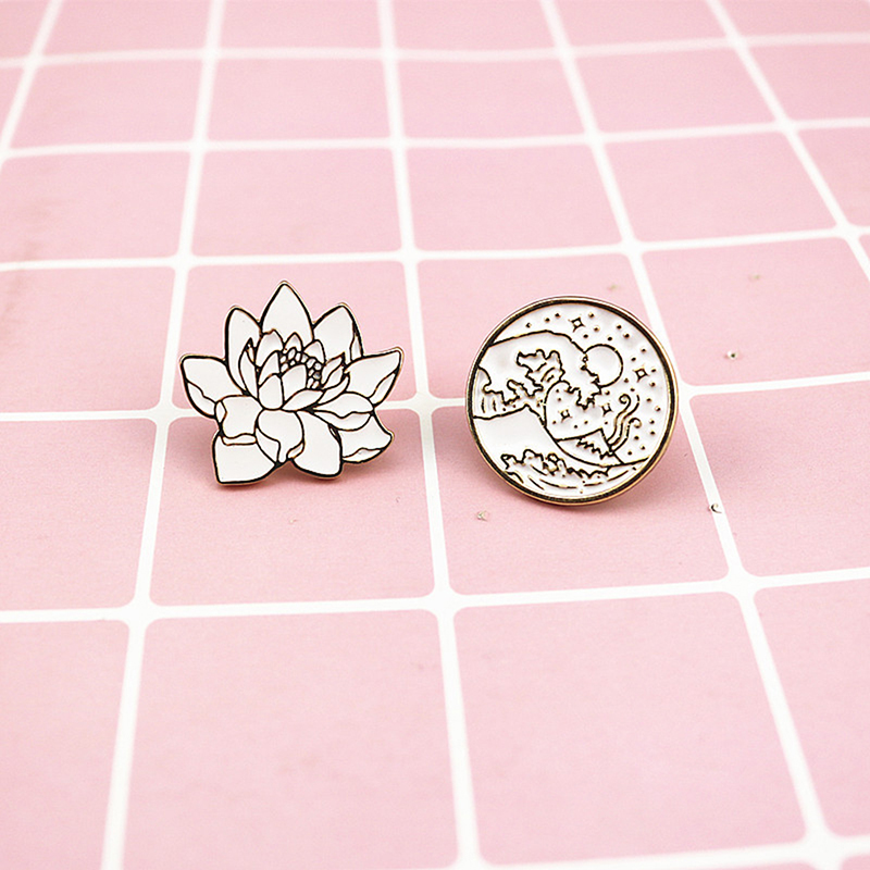 Apparel Sewing & Fabric Creative Sunrise Wave Badges White Lotus Flower Enamel Pin For Boys Lapel Pin Hat/bag Pins Denim Jacket Shirt Women Badge