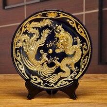 Китайский лак Нитки Скульптура Дракон и Феникс Керамика украшения ремесленных Гостиная крыльцо украшение подарки