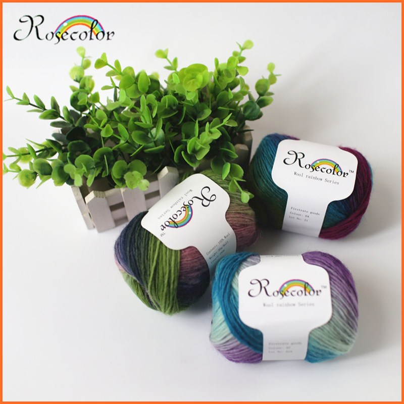 Sale 50g/ball Rainbow Shawl Wool Yarn Dyed Long Fancy Music Thread Hat Scarf Coarse Yarn For Hand Knitting