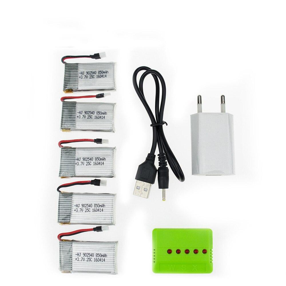 Syma x5 rc 3.7 v 850 mah Lipo batterie 5 pcs et vert chargeur avec plug pour x5sw x5sc cx30 cx30w JJRC H97 Hélicoptère Quadcopter