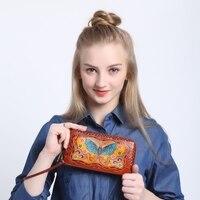women genuine leather wallet handmade long Zipper wallet bag cartoon