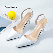 Cresfimix Lady Classic White Pu Leather Pointed Toe Summer High Heel Sh