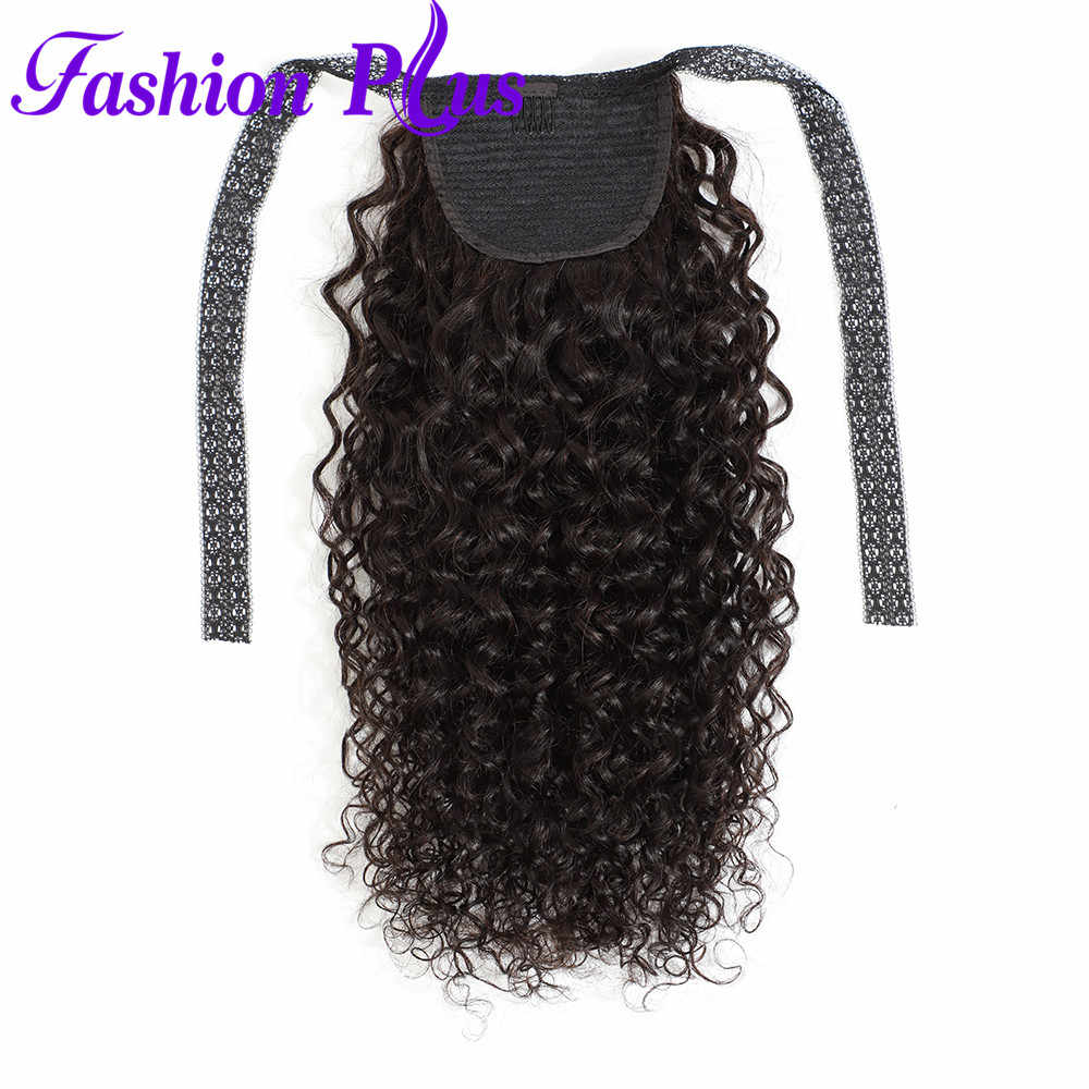 Fashion Plus Ponytail Malaysian Curly Hair Drawstring Ponytail Human Hair Extensions Remy Hair Wrap Around Clip In Pony Tail