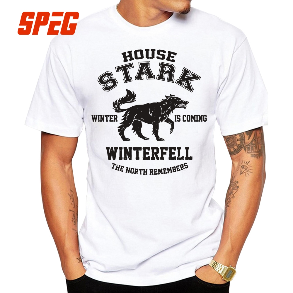 House Stark Winter is Coming Winterfell Vintage O Neck Tees Game of Thrones Vintage T Shirt Adult Cotton Short Sleeve T Shirt in T Shirts from Men 39 s Clothing