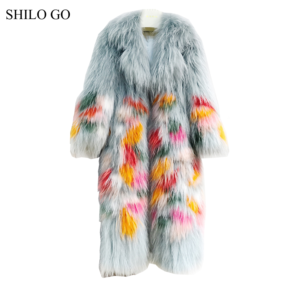 SHILO GO Fur Coat Womens Winter Fashion O Neck Real Raccon fur long coat Contrast color Long sleeve light green fur knitted coat fur contrast color men s cotton coat with hat