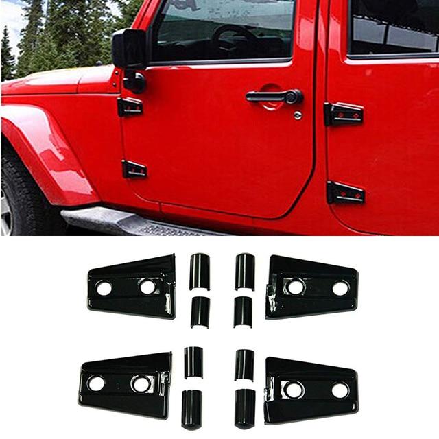 Bolaxin Engine Hood Hinge Cover Door Molding Trim for Jeep Wrangler JK 8pcs/set
