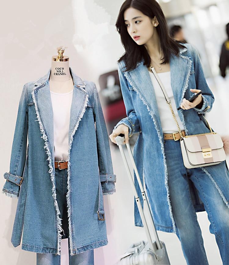 5209 2017 Casaco Tranchée Col Manteau Jeans Automne Hiver Vintage Denim Blazer Ceinture Effilochée Cranté Feminino Femmes Gland Livraison Long Y6ybfvg7