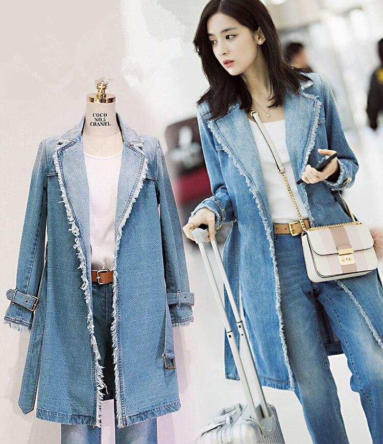 Denim Trench Coat Women 2017 Autumn Winter Vintage Frayed Tassel Notched Collar Long Jeans Blazer Free Belt casaco feminino 5209