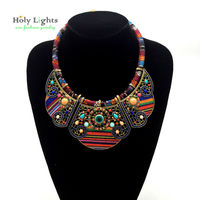 2016 New Women Bohemia Necklace Pendents Multicolor Statement Choker Necklace Antique Big Necklace Pendents For Cowboy