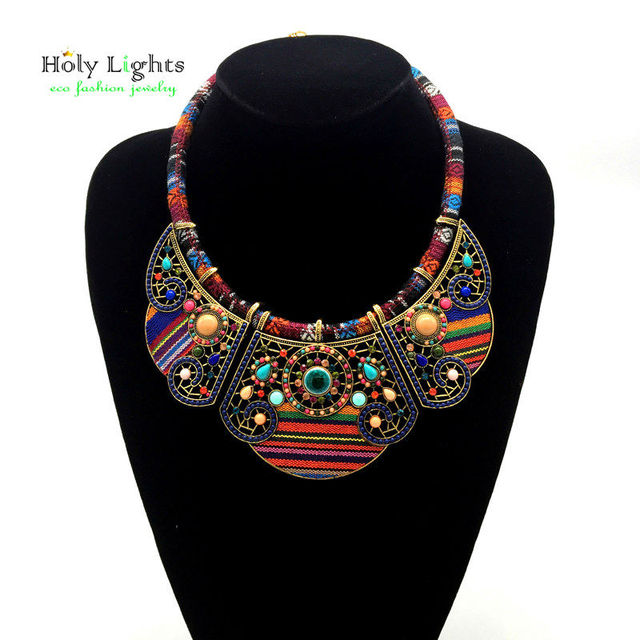 2017 New women bohemia necklace&pendants multicolor statement choker necklace za antique tribal ethnic boho jewelry mujer bijoux