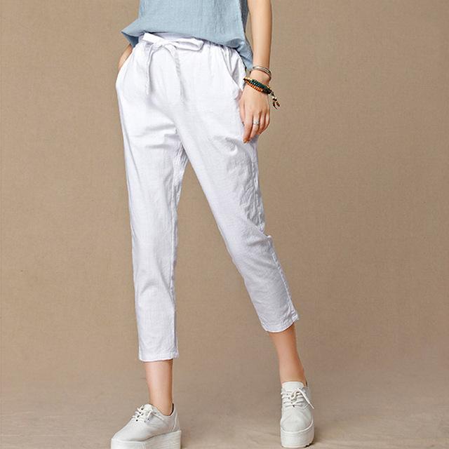 2017 mulheres novas do verão calças capris casuais moda algodão Linho culturas calças cintura elástica harem pants calças tamanho 4XL