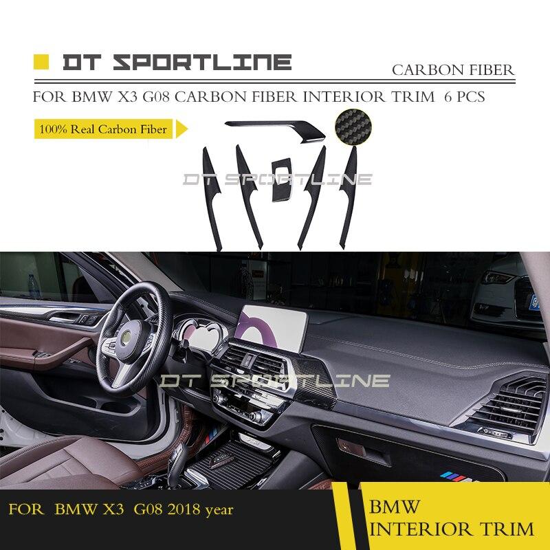 100% реальные углеродного волокна внутренняя отделка Даш Комплект дверей для BMW X3 серии G08 Coupe седан dasboard отделкой двери отделка центральной к