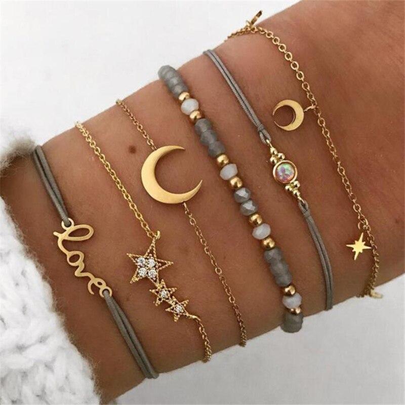 Yobest 6 Pcs/ Set Retro Hollow Star Moon Love Crystal Chain Pendant Gold Bead Bracelet Female Classic Multilayer Bracelet