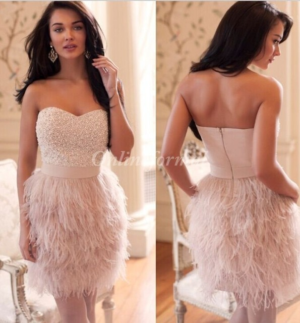 New Sweetheart Feather Dresses Robe De Night Cocktail Dresses
