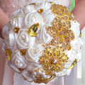 Gorgeous Gold Brooches Wedding Bouquet Silk Roses Bridal Bouquet Rhinestones Colorful Bride 's Bouquet with pearl FE10