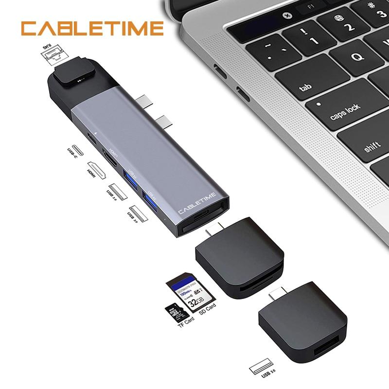Cabletime Double Type C HUB USB 4 K HDMI Lan Thunderbolt 3 SD USB3.0 + USB-C Chargeur PD 9 dans 1 adaptateur pour MacBook Pro 2016 2017 N176