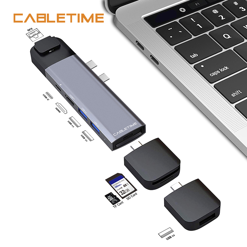 Cabletime Dual Type C HUB USB 4K HDMI Lan Thunderbolt 3 SD USB3.0+USB-C Charger PD 9 in 1 Adapter for MacBook Pro 2016 2017 N176Cabletime Dual Type C HUB USB 4K HDMI Lan Thunderbolt 3 SD USB3.0+USB-C Charger PD 9 in 1 Adapter for MacBook Pro 2016 2017 N176