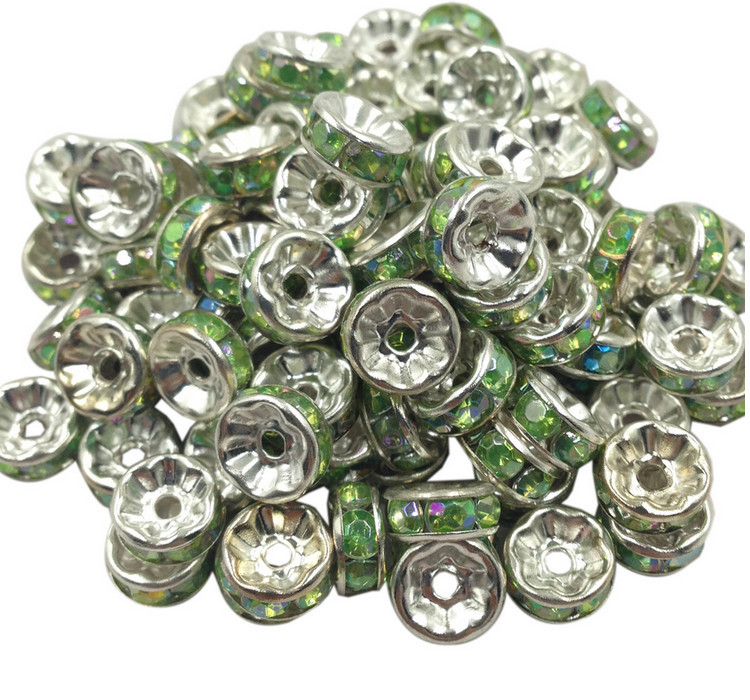 Crystal Large Hole Spacer Beads 6MM(20PCS/LOT)Silver Plated Crystal Rhinestone Rondelle Spacer Beads Crystal Glass Loose Beads