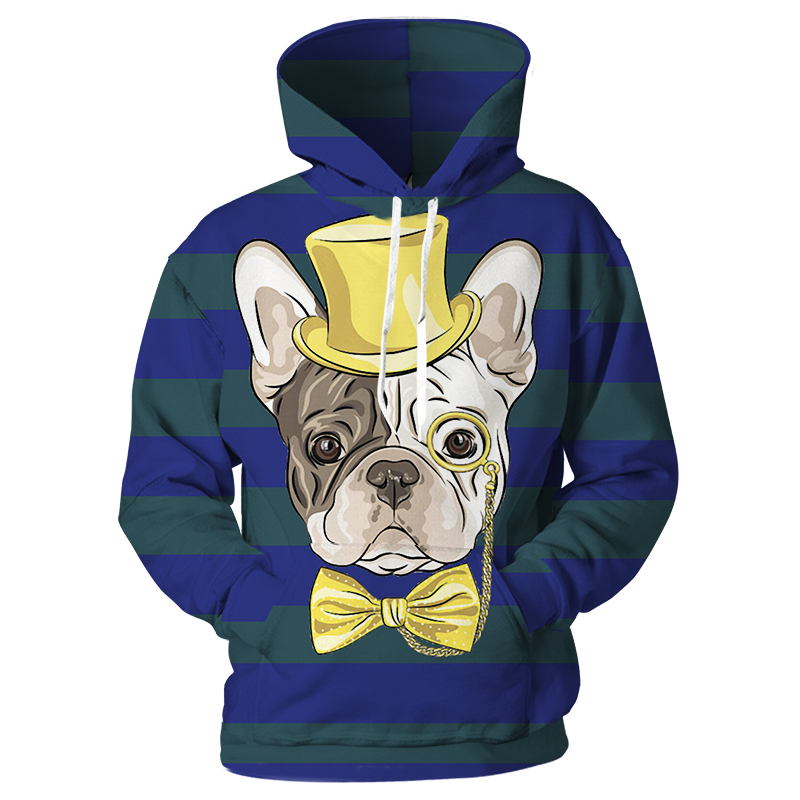 Hoodies & Sweatshirts Alert Cloudstyle Male Animal Hoodies 3d Print Magician Tie Bulldog Hooded Men Women Pocket Hoody Fashion Hip Hop Sweatshirt Streetwear
