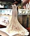 Perlas de Cristal de lujo de La Sirena Vestidos de Noche 2017 Atractivo Del Hombro de Lentejuelas Formal Partido Prom Vestidos vestidos de fiesta