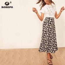 ROHOPO Vintage Printed Daisy Skirt Flare Hem Floral Autumn Ladies Midi High Waist Skirts #YY103H недорого