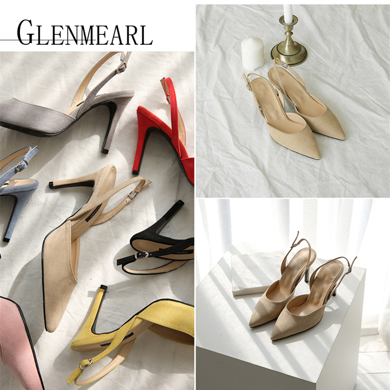 Image 2 - Women Sandals High Heels Summer Brand Woman Pumps Thin Heels Party Shoes Pointed Toe Slip On Office Ladie Dress Shoe Plus SizeDE-in High Heels from Shoes