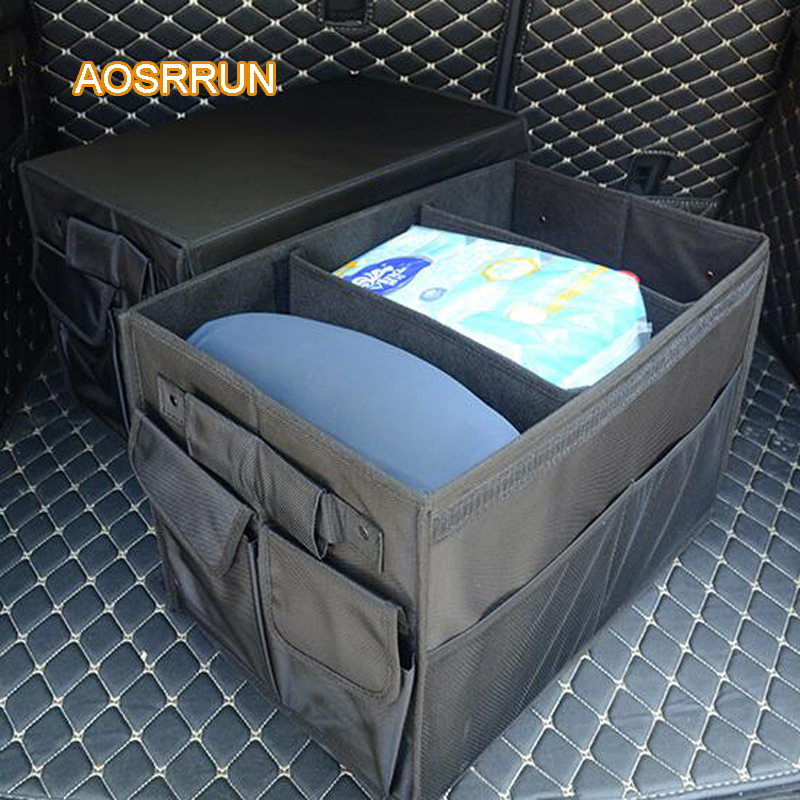 AOSRRUN For Jaguar F-pace XE XF XJ trunk storage box For storage box folding Cover Car Accessories car-styling car trunk storage bag oxford cloth folding truck storage box car trunk tidy bag organizer storage box with cooler bag