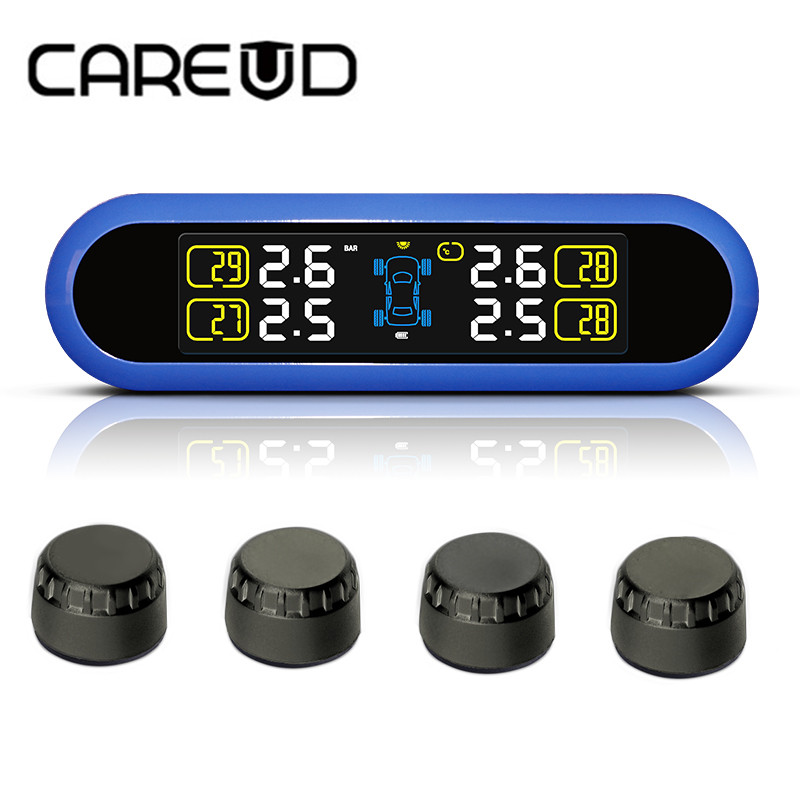 CAREUD Smart Car TPMS Tyre Pressure Monitoring System Solar Power charging Digital LCD Display Auto Security Alarm Systems lcd digital tire tyre air pressure gauge tester meter tool for auto car motorcycle worldwide store