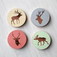 4pcs Four Color Elk Fridge Magnets Wooden Beer Bottle Opener Multifunctional Creative Opener
